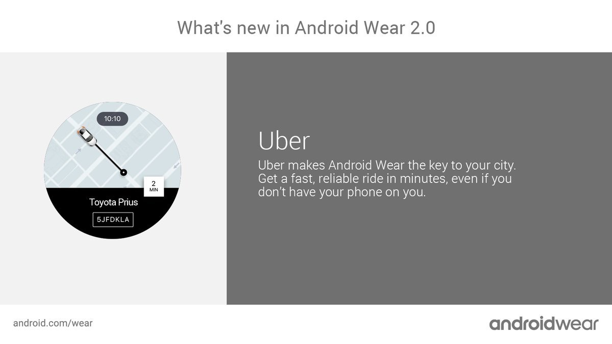 Uber disponible para smartwatches con Android Wear 2.0