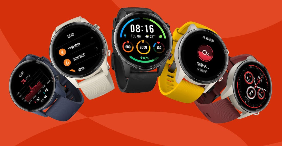 Promotional rendering of the Xiaomi Mi Watch Color Sports Edition in three different colors.
